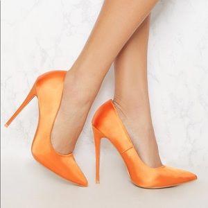 PrettyLittleThing Tangerine Orange Pump Court Heel